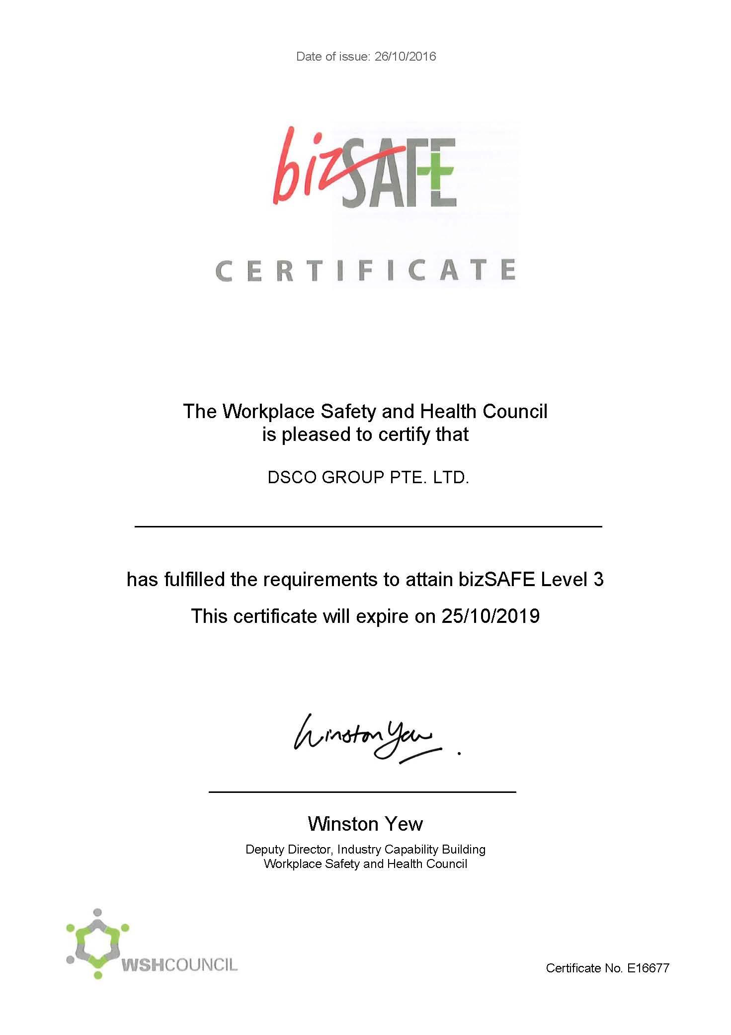 BizSafe L3 Certificate