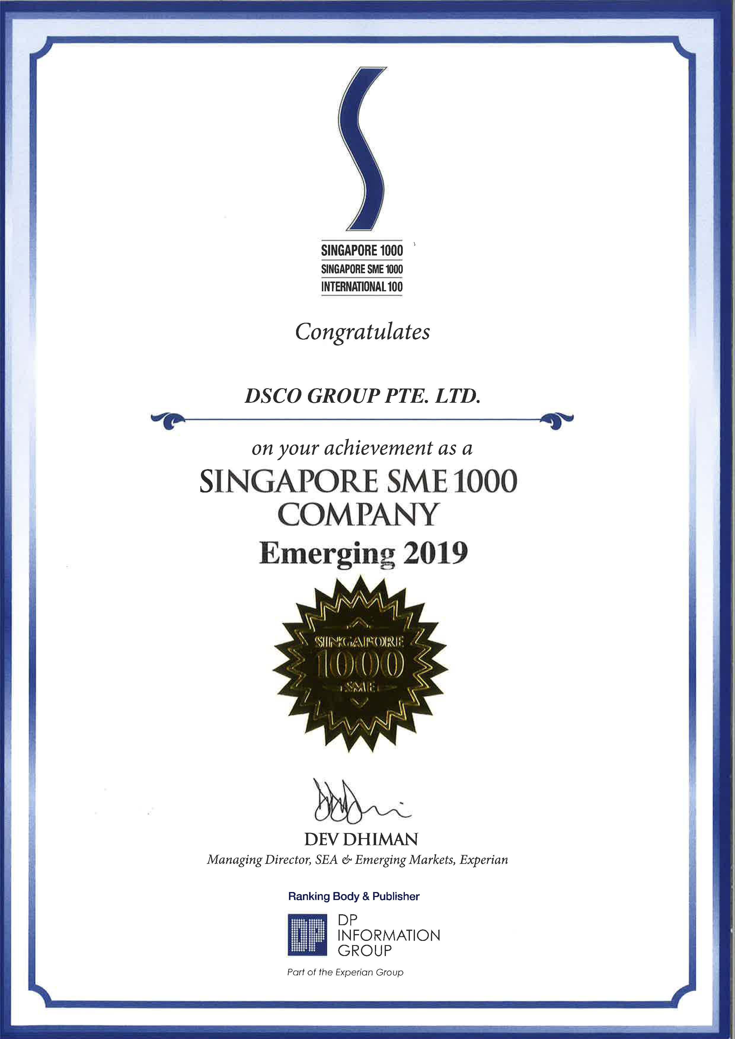 Singapore SME 1000 Company - Emerging 2019
